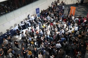 crowd of people in building lobby
